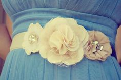Bridesmaid Ruffle Flower Belt