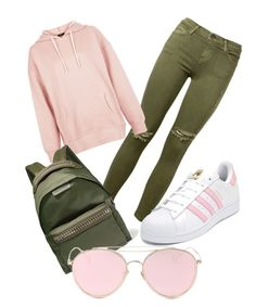 """Pink olive branch"" by bles225 on Polyvore featuring Current/Elliott, New Look, adidas, STELLA McCARTNEY, LMNT, colorchallenge and greenandblush"
