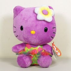 Ty Beanie Babies Hello Kitty Hawaii Rose Purple Beanbag Plush 6""