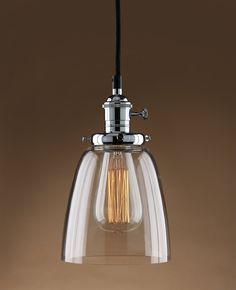 Amazon.com - Permo Vintage Incandescent One Light Pendant Mini Cone Clear Glass Ceiling Hanging Lamp Fixture 1-light with Nostalgic Edison Filament Bulb (Chrome) -