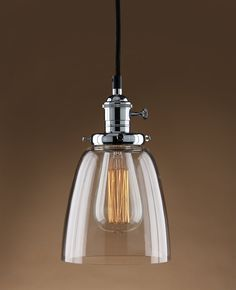 Amazon.com - Permo Vintage Incandescent One Light Pendant Mini Cone Clear Glass Ceiling Hanging Lamp Fixture 1-light with Nostalgic Edison Filament Bulb (Chrome) -