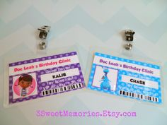 Doc McStuffins ID Badges Party Favors by 3SweetMemories on Etsy, $14.00