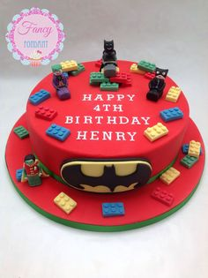 A Lego Batman Cake with Robin, Catwoman and The Joker by Fancy Fondant