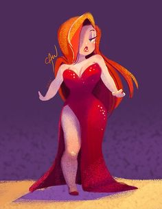 I'm not big on Jessica rabbit but this is adorable! <<< Jessica Rabbit is one of my all time fave Disney women, so, seeing her shorter and cuter(like me lol) makes me super happy. Disney Love, Disney Art, Arte Marilyn Monroe, Princesas Disney Dark, Plus Size Art, Pinup, Roger Rabbit, Deviant Art, Pin Up Art