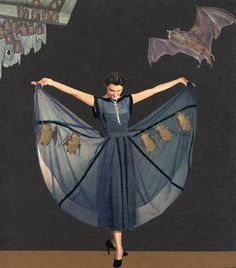 bat dress - I like this. Would go beautifully with the bat hat I made many years ago! Vintage Halloween, Fall Halloween, Halloween Party, Vintage Fall, Vintage Outfits, Vintage Fashion, 1930s Fashion, Vintage Costumes, Hallowen Costume