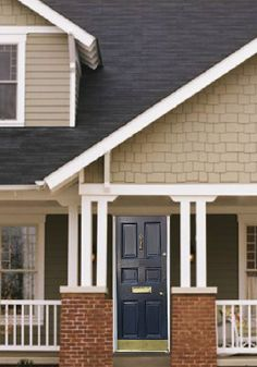 Grayish Taupe, Dark Gray & White with Navy Blue door Behr Exterior Paint, Exterior Paint Colors, Paint Colors For Home, White Ranch Style House, White Farmhouse Exterior, Modern Farmhouse, Navy Blue Houses, Old House Design, House Exterior Color Schemes