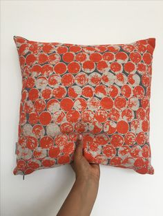 'Circles' cushion, hand screen printed and handmade by me in my Birmingham based studio. Available at www.etsy.com/uk/shop/AzraBano Uk Shop, Birmingham, Circles, Screen Printing, Cushion, Textiles, Studio, Printed, Handmade