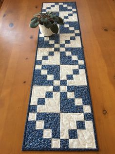 Quilted Table Runner in Blue and Cream Home Decor Traditional irish chain style patchwork table runner Patchwork Table Runner, Table Runner And Placemats, Quilted Table Runners, Fall Table Runner, Quilted Table Runner Patterns, Modern Table Runners, Small Quilts, Mini Quilts, Blue Quilts