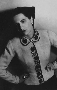 Portrait of Diana Vreeland wearing a Elsa Schiaparelli ensemble, photographed by Louise Dahl Wolfe,1937