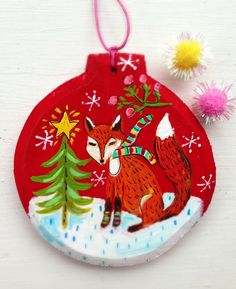 Christmas tree decoration fox red by evesjulia12 on Etsy https://www.etsy.com/listing/253583748/christmas-tree-decoration-fox-red