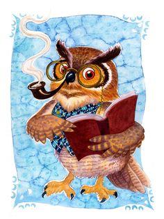 'Wise Owl' by Isabella Kung ❤❦♪♫ Owl Books, Animal Books, Art Fantaisiste, Owl Art, Illustrator, Owl Cartoon, Felt Owls, Owl Pictures, Owl Always Love You