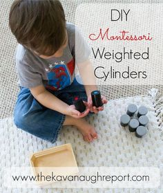 DIY Montessori Weighted Cylinders - These baric cylinders are perfect for teaching preschoolers about weight. Easy addition to a sensorial shelf!