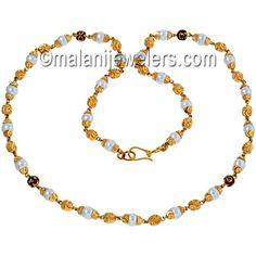 22 Karat Gold Elegant Pearl Minakari Chain. SKU # 31-08330 http://www.malanijewelers.com/gold-necklaces.aspx?size=15