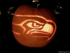 Carved Seahawks Pumpkin for Adam Pumpkin Carving Patterns, Carving Pumpkins, Pumpkin Carvings, Halloween Pumpkins, Halloween Decorations, Best Pumpkin, Pumpkin Ideas, Pumpkin Stencil, Holidays Halloween