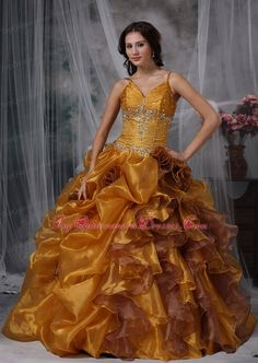 Maybe if Isa decides to go for a colored gown - Brown Flowers Spaghetti Straps Beading Quinceanera Ball Gown