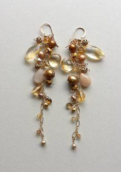 Golden Dangle Earrings Citrine Dangle by BellaAnelaJewelry on Etsy