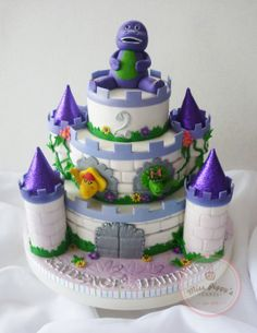 Barney And Friends Castle Cake With Purple Accents, Baby Bop And BJ. Brick  Detail