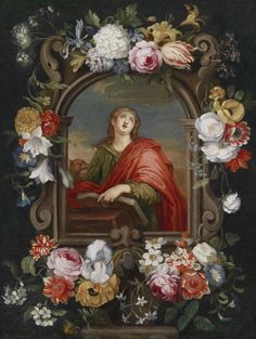 Jan Brueghel the Younger — A Floral Garland around a Cartouche Enclosing Saint John the Evangelist Floral Garland, Flower Garlands, St John The Evangelist, Christian Religions, Dutch Painters, Global Art, Dark Backgrounds, Carnations, Art Market