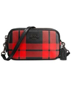 COACH CROSSBODY POUCH IN PLAID PRINT LEATHER