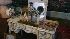 french provincial vanity ~staged for a bride's lounge at a wedding in Dallas TX 2015 ~ staging by MakingOverMartha vintage rentals
