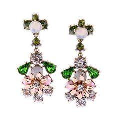 Rhinestone Faux Gem Floral Earrings