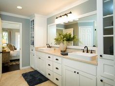 10 Best Bathroom Remodeling Trends | Bath Crashers | DIY- great sinks and love the tall cabinet