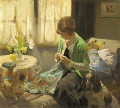 Summer Sewing, (about 1900's) by Dorothy Adamson. I'm madly in love with the summer light coming through the windows.