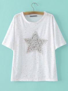 Camiseta cuello redondo lentejuela estrella-Sheinside