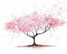 Cherry tree Original watercolor painting 8x10 inch. $40.00, via Etsy.