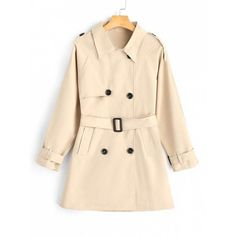Double-breasted Belted Skirted Trench Coat (202510 PYG) ❤ liked on Polyvore featuring outerwear, coats, beige trench coat, belted coat, double breasted belted coat, trench coats and double breasted coat