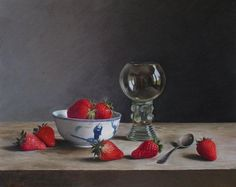 Roy Barley (b.1935) — Strawberries in Chinese bowl with Dutch glass (740X587)