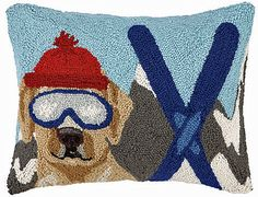 Mountain Ski Yellow Labrador Dog Hooked Wool Pillow – For the Love Of Dogs - Shopping for a Cause