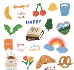 Korean Stickers, Diy Stickers, Printable Stickers, Kawaii Stickers, Cute Notes, Good Notes, Note Doodles, Journal Stickers, Aesthetic Stickers