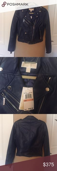 Michael Kors blue leather jacket Brand new never worn. A great twist other then black leather. Beautiful blue! MICHAEL Michael Kors Jackets & Coats