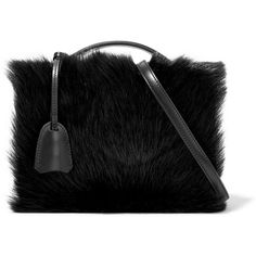 Mark Cross Grace small shearling-paneled leather shoulder bag ($1,990) ❤ liked on Polyvore featuring bags, handbags, shoulder bags, real leather handbags, mark cross handbags, shearling handbags, clasp purse and shoulder strap handbags
