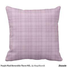 Purple Plaid Reversible Throw Pillow