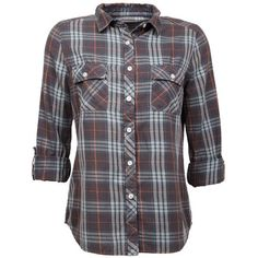 Grey Plaid Button-Down Shirt ($40) ❤ liked on Polyvore featuring tops, shirts, button downs, flannel, blouses & shirts, plaid button down shirt, button up shirts, button shirt, grey flannel shirt and plaid shirts