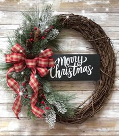 Welcome Wreath-Farmhouse Rustic – christmas decorations Grapevine Christmas, Christmas Wreaths To Make, Holiday Wreaths, Rustic Christmas, Christmas Crafts, Grapevine Wreath, Christmas Time, Merry Christmas, Gold Christmas