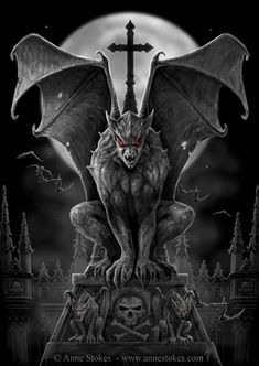 Gargoyle- French legend: a carved statue of a winged reptilian monster. They are carved in stone around important buildings in order to protect it from evil spirits. This practice originated when St. Romanus killed a dragon named Gargouille with a crucifix and mounted its head and neck on the cathedral to protect the building.
