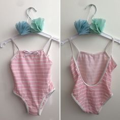 Scandinavian Vintage Pink and White Striped Baby Girl Swimsuit 0-3 months, 80s Retro Pink Newborn Bathing Suit, Nordic Baby Playsuit by ElleBelleVin on Etsy