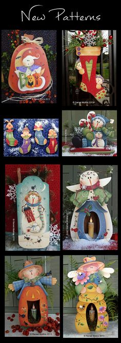 Plum Purdy Designs by Renee Mullins Country Christmas, Christmas Art, Christmas Projects, Holiday Crafts, Tole Decorative Paintings, Tole Painting, Painting On Wood, Pintura Country, Xmas Ornaments