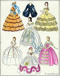 Second Empire Gowns. Victorian Fashion Era 1852 to 1870