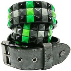 Lowlife Triple S Studded Belt Slate & Green   Gothic Clothing   Emo... ($27) ❤ liked on Polyvore