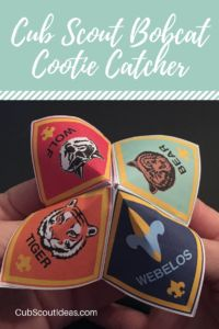 cub scouts This Cub Scout Bobcat Cootie Catcher has been updated with the latest Bobcat requirements. The FREE printable includes folding and playing instructions. Cub Scout Oath, Cub Scouts Wolf, Tiger Scouts, Scout Leader, Eagle Scout, Cub Scout Skits, Cub Scout Games, Cub Scout Activities, Fun Activities
