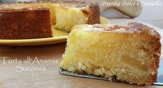 La torta all'ananas succosa è un dolce fresco e goloso, ma nello stesso tempo semplice e poco calorico! Infatti no sono previste creme o burro.