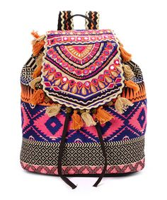 Look at this Ash & Sara Pink & Royal Tassel Embroidered Backpack on #zulily today!