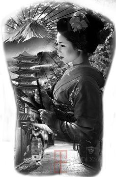 Geisha Tattoos, Tatoo Geisha, Geisha Tattoo Design, Buddha Tattoo Design, Geisha Art, Japanese Tattoo Designs, Japanese Tattoo Art, Japanese Sleeve Tattoos, Leg Sleeve Tattoo
