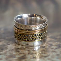 Gold spinners ring boho ring unique silver band by artisanlook