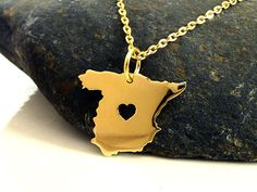 Absolutely love this!! NEED with a heart on VLC of course!!! Spain Necklace  18K Gold Plated Necklace  by PRECIOUSWINGSCOM