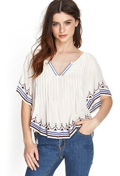 Embroidered Peasant Top | FOREVER21 - 2000123065